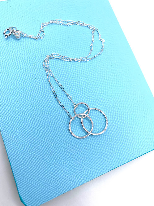 Triple Circle Fine Silver Layering Necklace