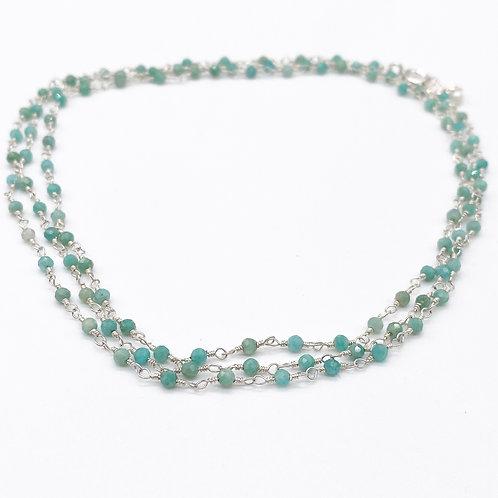 Long Amazonite Rosary Necklace