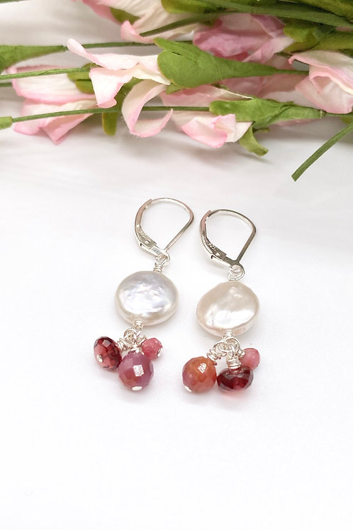 Coin Pearl, Rhodonite, Garnet and Ruby Earrings