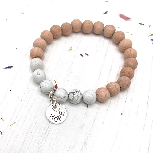 Howlite and Rosewood - Hope Stretch Bracelet
