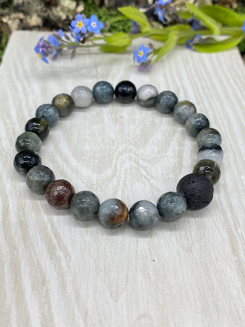 Jasper and Lava Stone Diffuser Stretch Bracelet