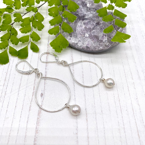 Akoya Pearls on Silver Teardrop Hoops