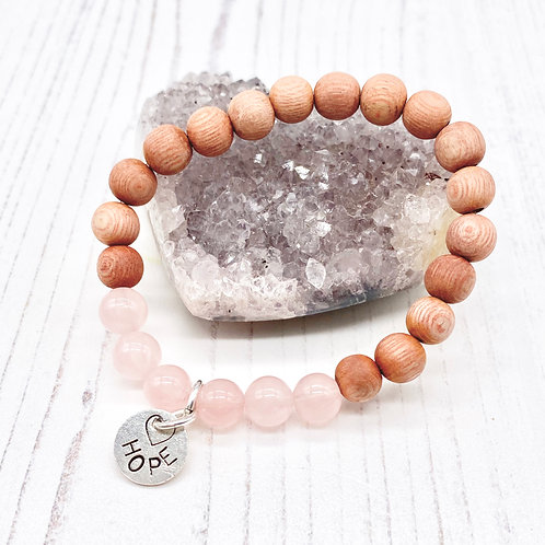 Hope Stretch Bracelet - Rose Quartz and Rosewood
