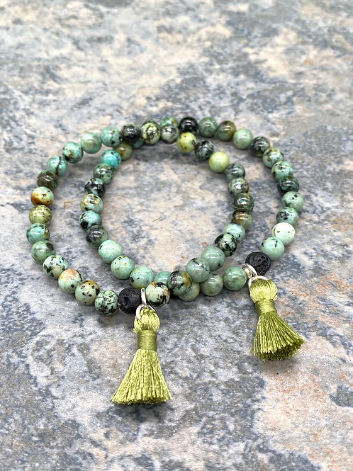 Serpentine and Lava Bead Stretch Bracelet