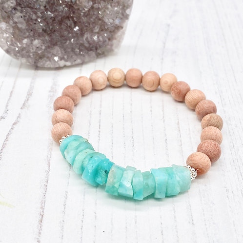 Amazonite and Rosewood Diffuser Stretch Bracelet