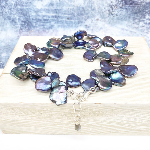 Peacock Iris Pearl and Labradorite Necklace