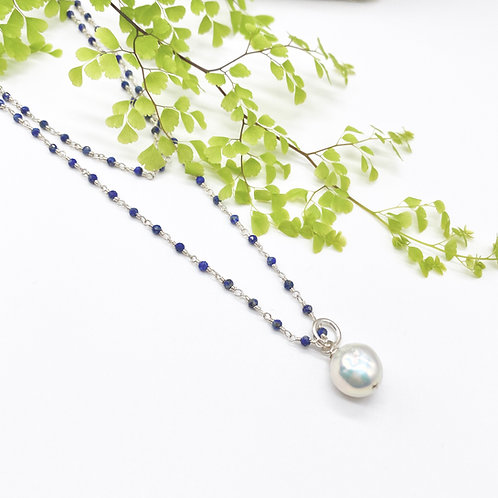 Long Lapis Rosary Necklace