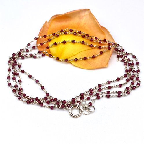 Garnet Long Rosary Necklace