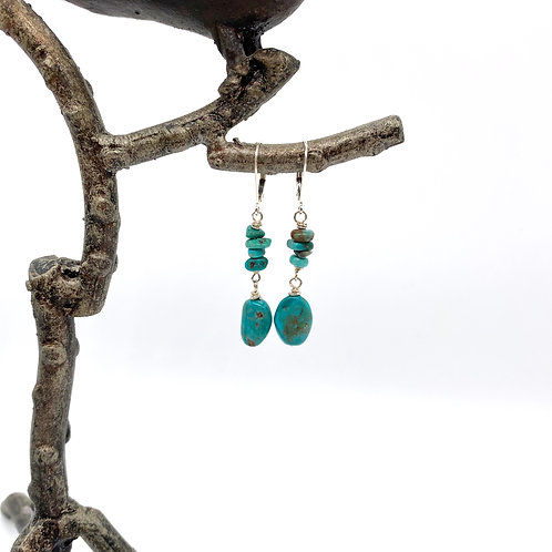 Green Turquoise Chip and Ovals Earrings