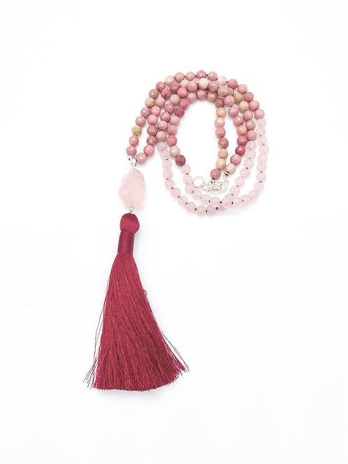 Rose Quartz and Rhodonite Diffuser Tassel Necklace