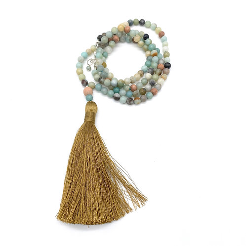 Amazonite and Rosewood Diffuser Tassel Necklace