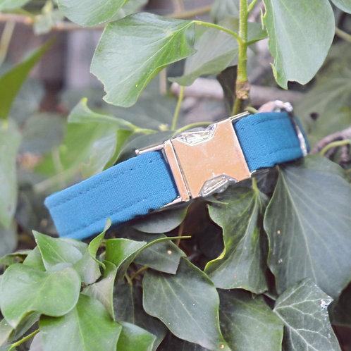 Collier uni bleu canard