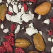 DARK CHOCOLATE: RASPBERRIES, YOGURT AND PISTACCIO