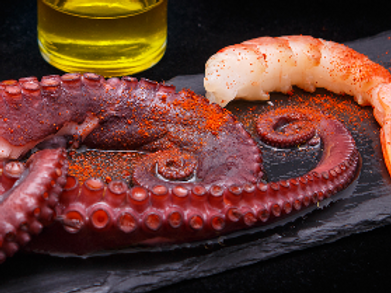 OCTOPUS WITH PRAWNS FROM LAS RIAS GALLEGAS