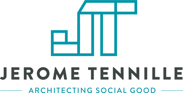 Jerome Tennille Logo vertical type teal.