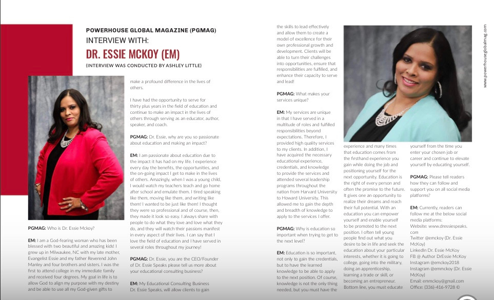 Dr. Essie McKoy Powerhouse Magazine Feat