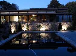 Night lighting beside pool