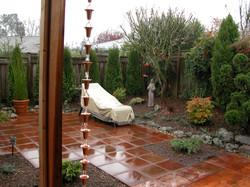 Wet tiles in backyard