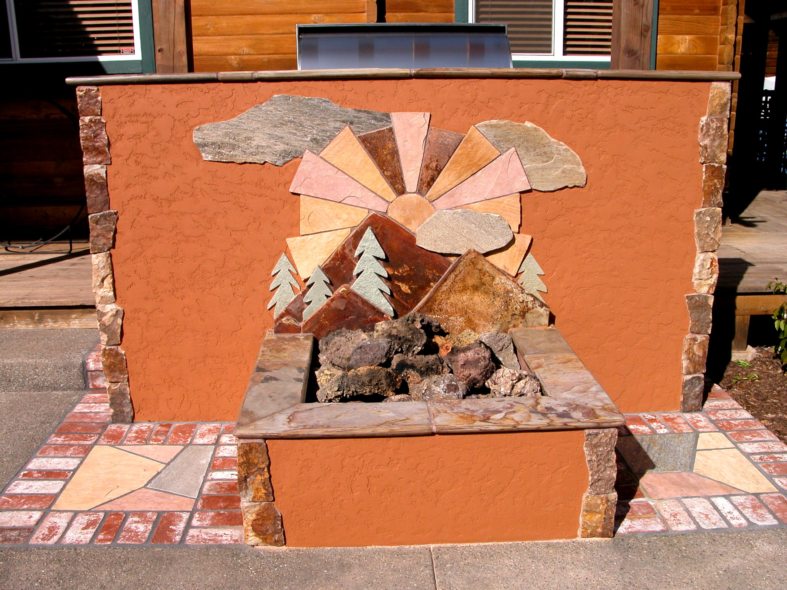 Firepit with rock design work