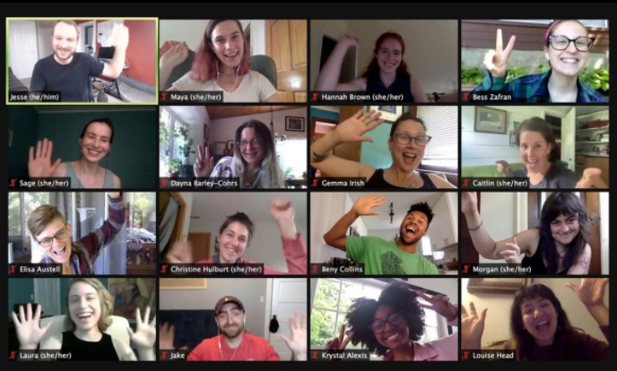 Screenshot of a Zoom meeting with Next Day Animations Team