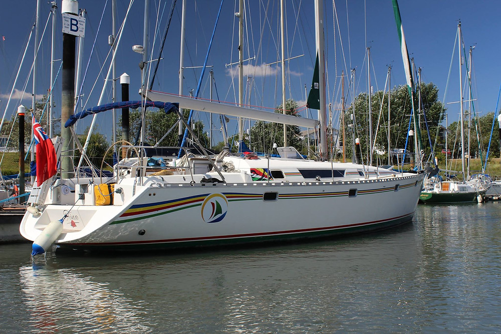 """""""Tina"""" ready to leave Tollesbury Marina, Essex, England"""