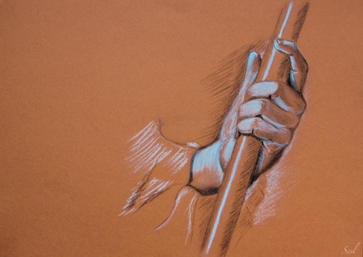Le bâton à la main