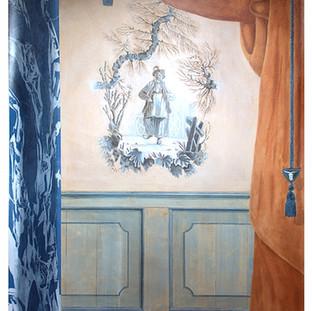 Décor d'entrée : chinoiserie, colonne marbre et drapé