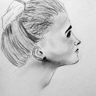 Jeune fille, portrait inspiré de Watteau