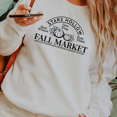 Stars Hollow Fall Market Sweatshirts Funy Pumpkins Sweats  Aesthetic Pullover