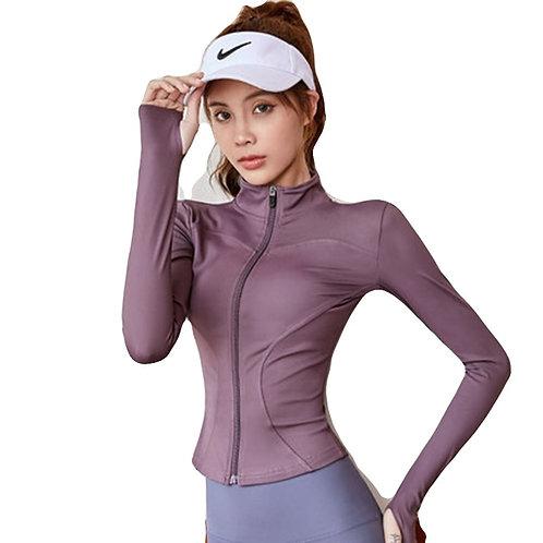 Top feminino de corrida leve de manga comprida