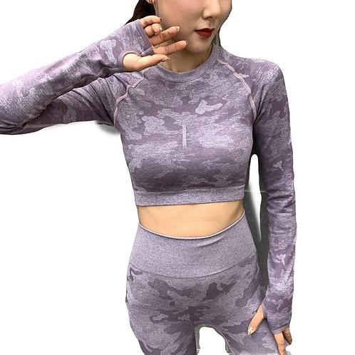 Camouflage Yoga Set High Waist Leggings + Long Sleeve Shirt or Sports Br