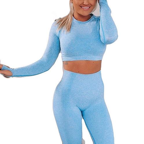 Conjunto de exercícios de ioga sem costura de duas peças Conjunto de ginástica esportiva roupas para mulheres