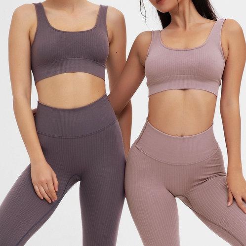 2 Piece Yoga Set Fitness Set Ribbed Backless Sports Bra Seamless Leggings