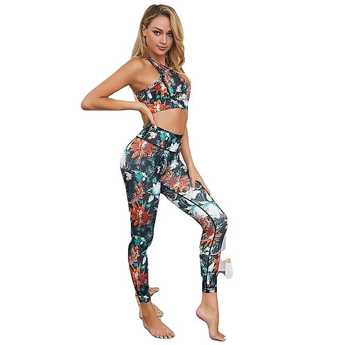 2 pcs piece Sets sports bra and bottoms Print Design