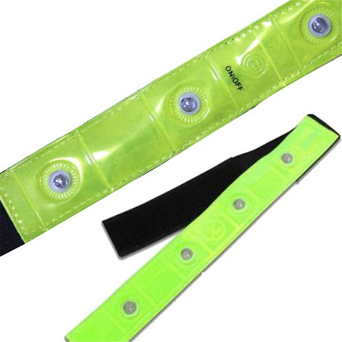 Safety Outdoor Reflective Yellow Armband Red LED Lights Running Cycling Jogging