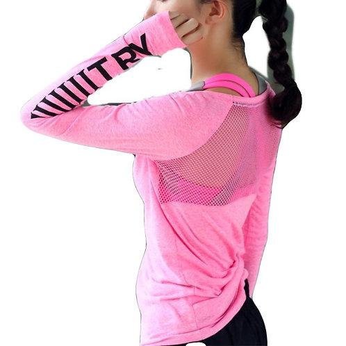 Roupa esportiva feminina respirável de fitness camiseta esporte top