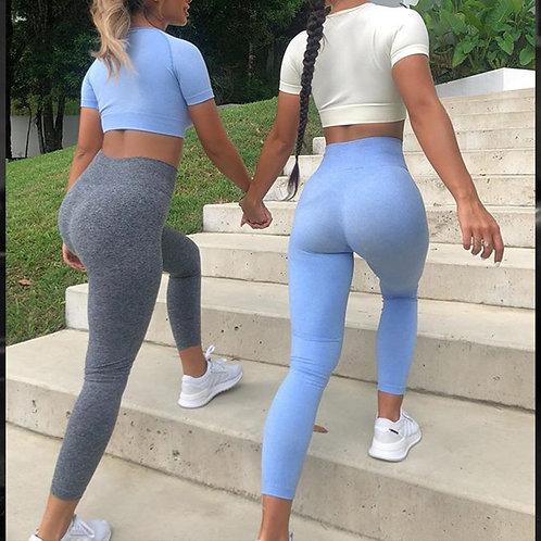 Crop Top T-Shirt Bra Legging Shorts Sportsuit