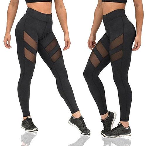 Women Mesh Patchwork Sport Leggings High Waist Tights