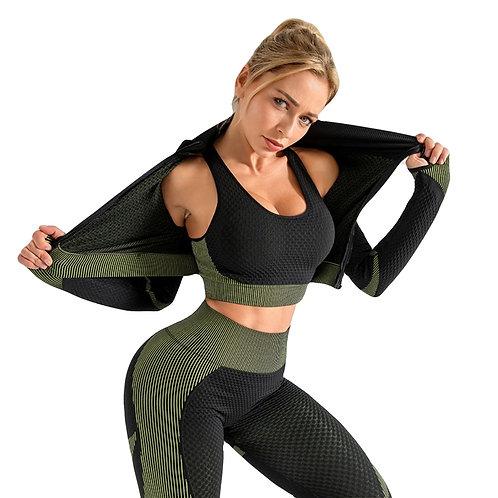 3 unidades / conjunto de terno esportivo conjunto de ioga para ginástica roupas de ginástica manga comprida zíper top