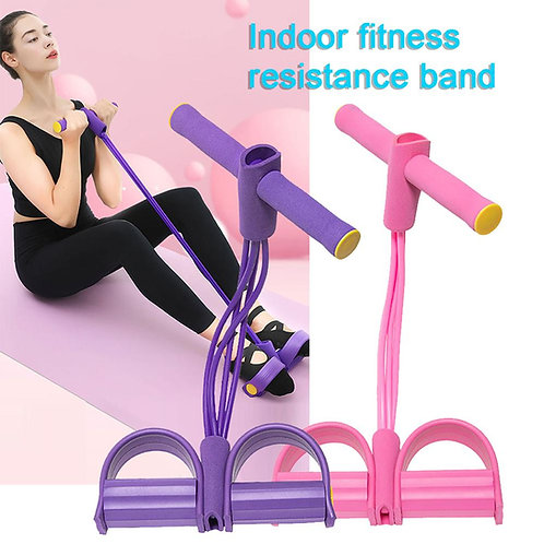Elastic 4 Tubes Pull Rope Belly Resistance Tension Band Training Tool