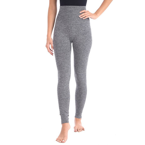 """Look at Me Leggings With Double Lyaer 5"""" Hi-Waistband - Grey Mix"""