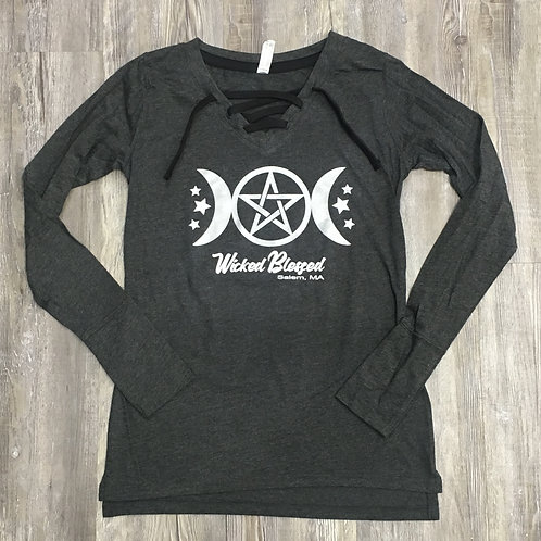 WICKED BLESSED LACE UP LONG SLEEVE TEE