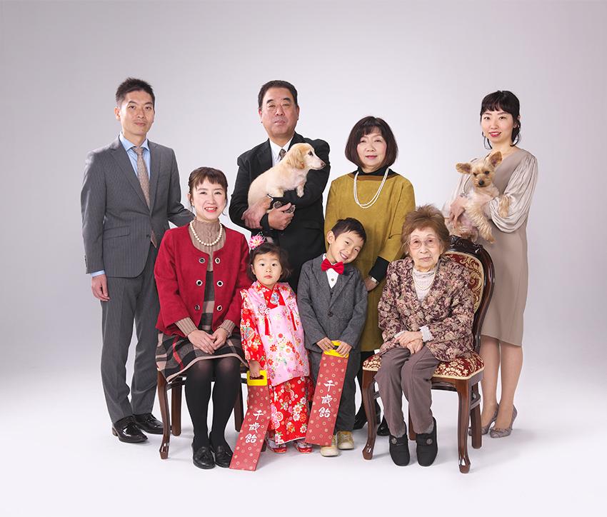 家族写真 七五三のお祝い