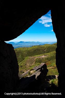 星生山の岩場から望む阿蘇五岳