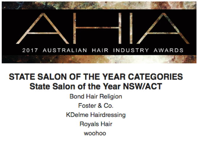 Finalist for the 2017 ACT/NSW Salon Business of the Year