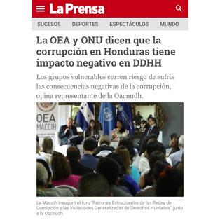 Fundación Vortex en Honduras, discutiendo el impacto de la corrupción en las violaciones de derechos