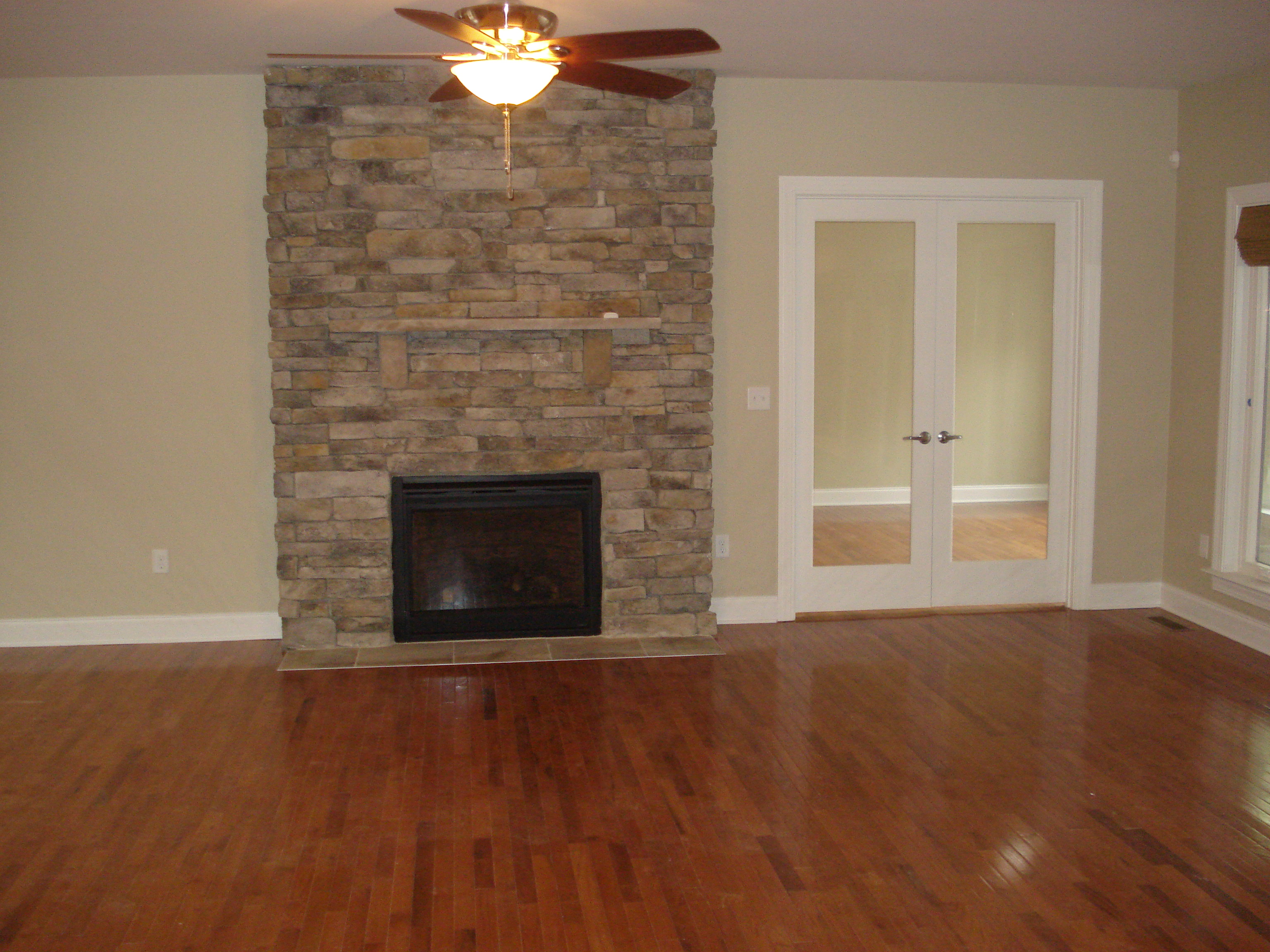hardwood floor & fireplace