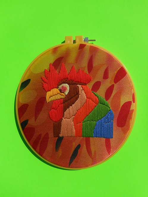 rooster embroidery kit