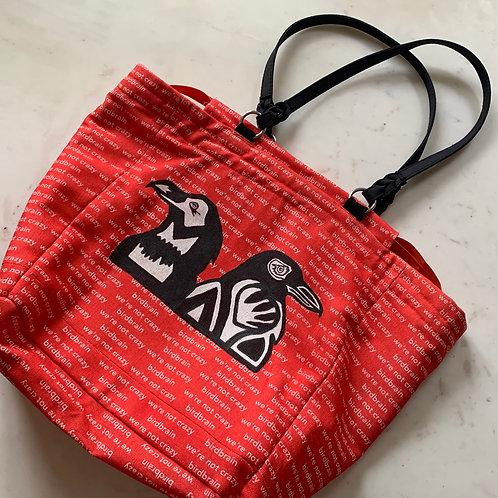custom hand painted bag on birdbrain fabric