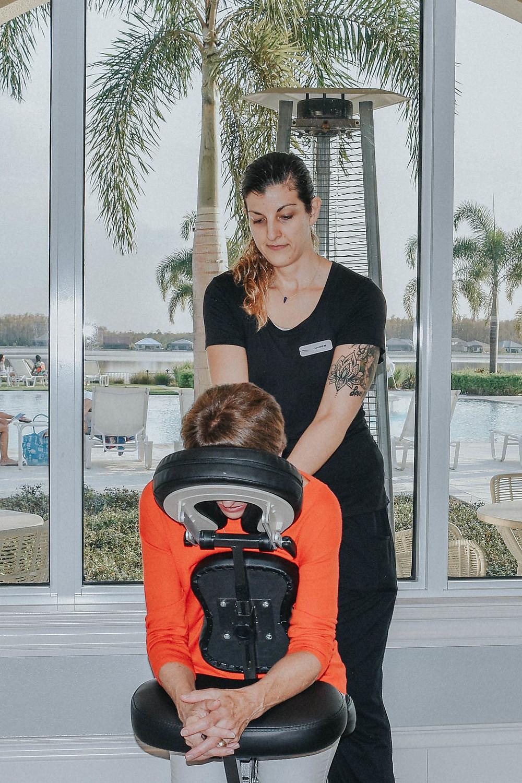 Lauren works chair massage